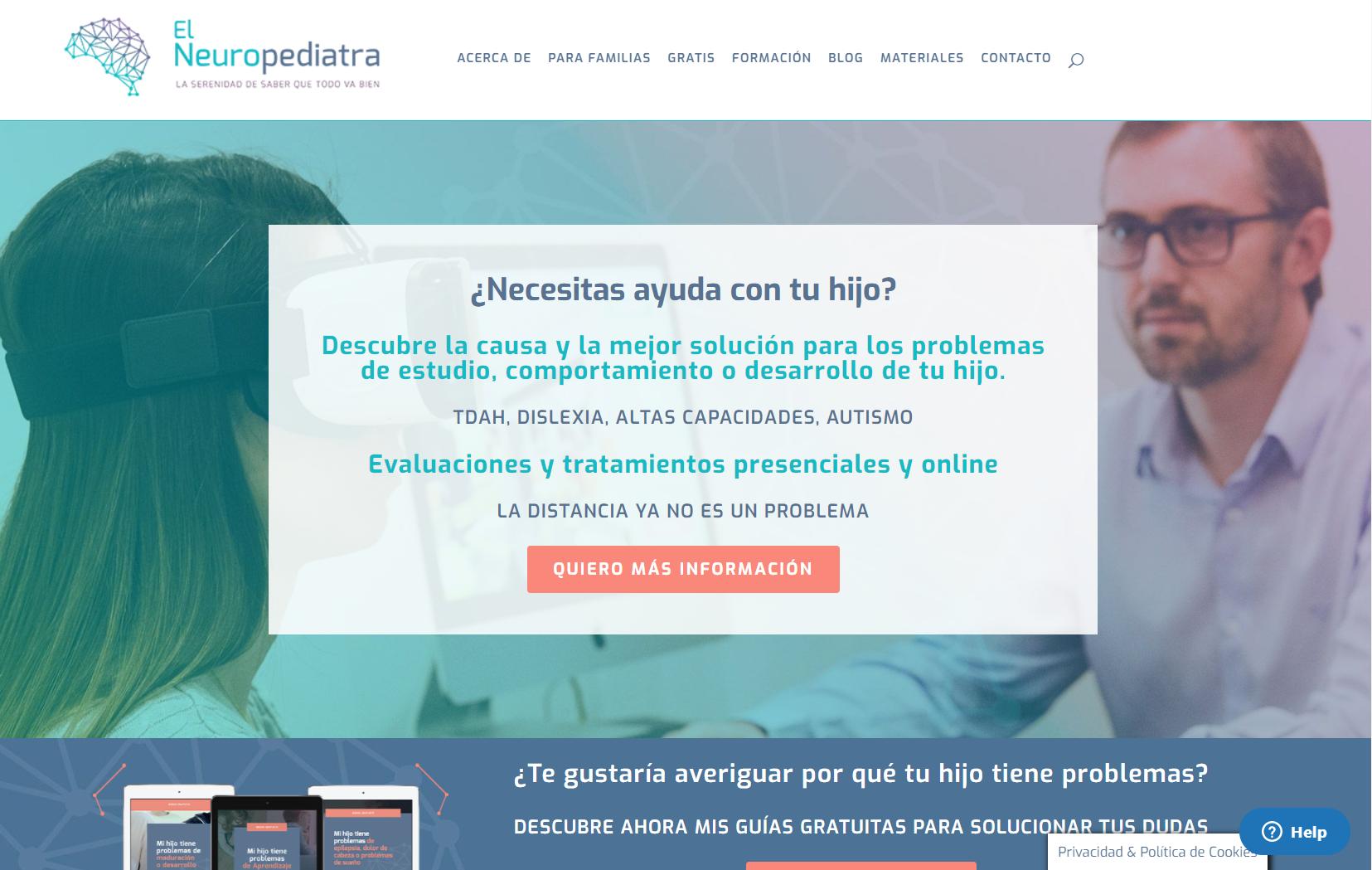 Captura de pantalla de la web de El Neuropediatra