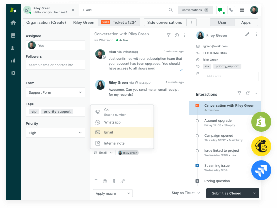 Agent Workspace for Zendesk<sup>®</sup> Suite with some Integration Apps (Shopify, Mailchimp, Jira) from the marketplace