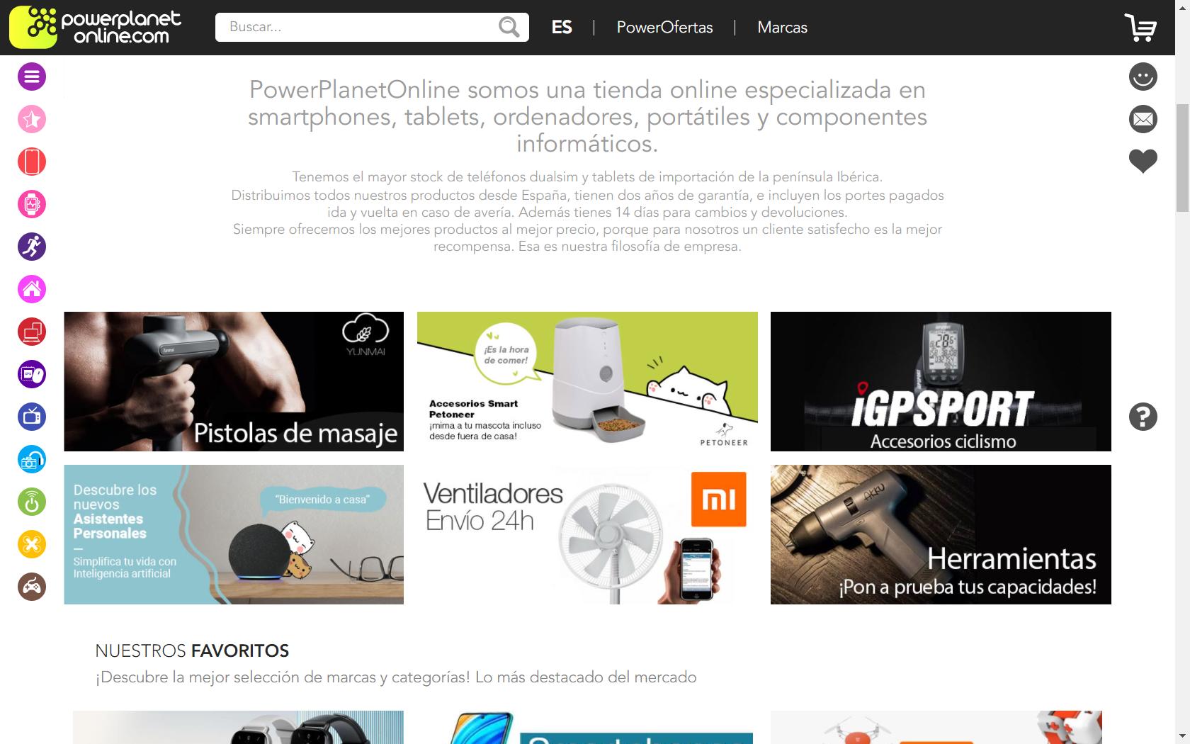 Captura de pantalla de la web de PowerPlanetOnline