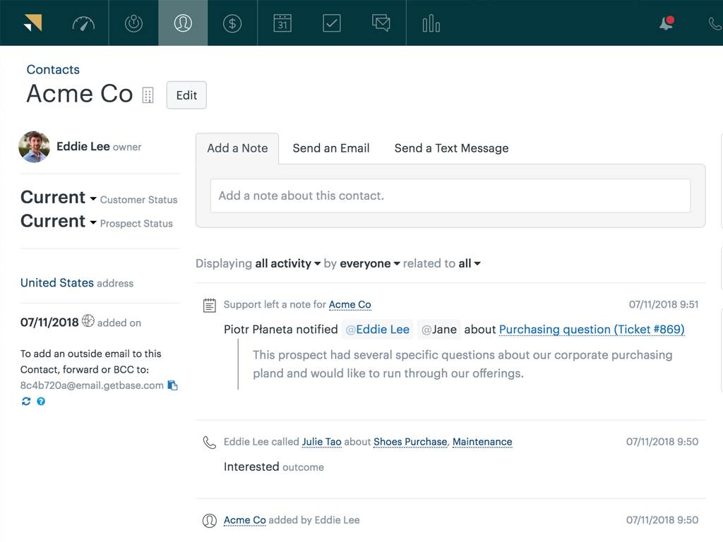 Zendesk<sup>®</sup> Sell interface and an example of its integration with Zendesk<sup>®</sup> Support: the customer service agents have left a note recapping their interaction with the shown contact.