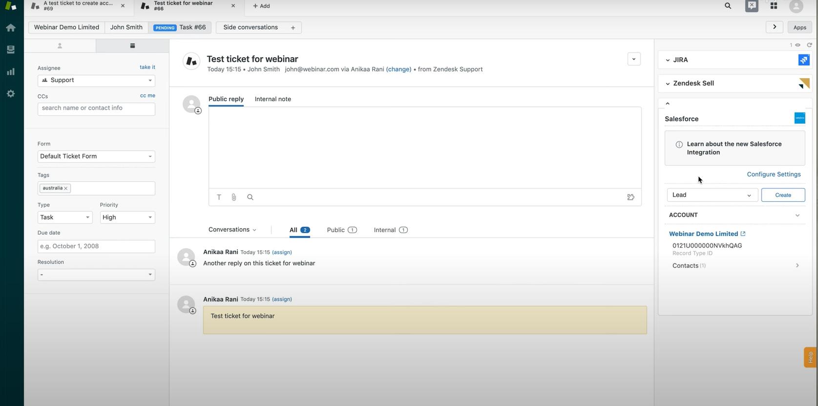 App de Salesforce en Zendesk Support [App de Integración entre Salesforce y Zendesk Support. Tickets, Peticiones de Servicio, Leads, Oportunidades, Cuentas. CRM, Automatización de Ventas, Automatización de Servicio y Experiencia de Cliente (CX)]