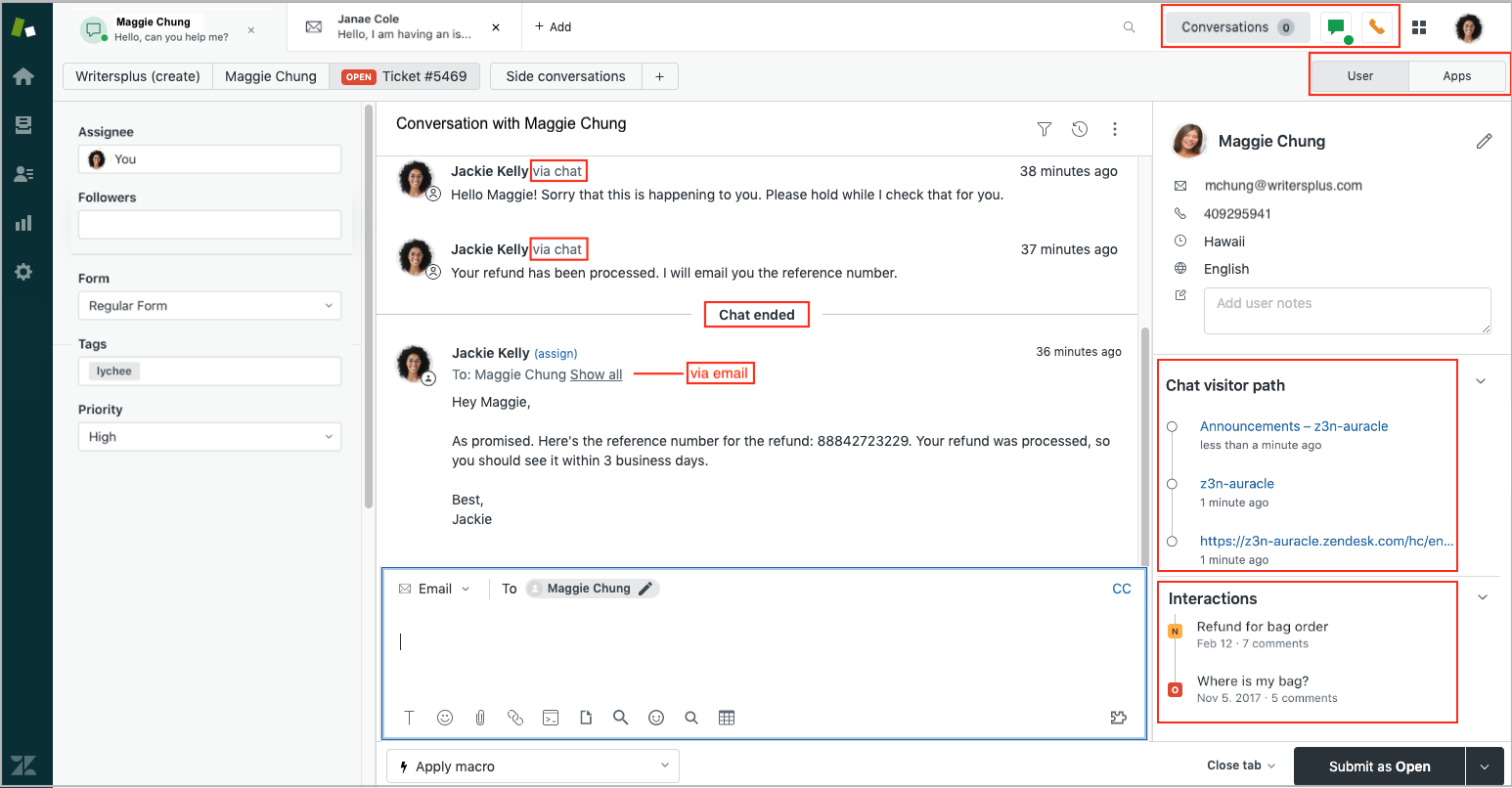 Zendesk Chat and Support Integration through the Agent Workspace [Chat and Support Integration. Agent Workspace. Messaging, Omnichannel, Ticketing. Zendesk CRM and Service Automation]