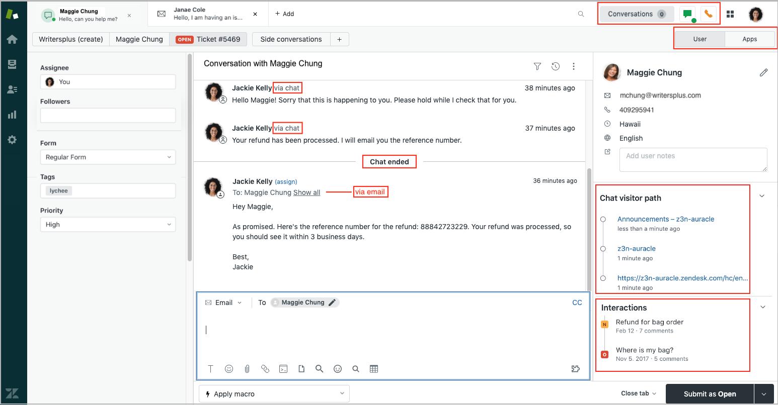 Integración entre Zendesk Chat y Support a través del Espacio de Trabajo del Agente [Integración entre Chat y Support. Espacio de Trabajo del Agente. Mensajería, Omnicanalidad, Ticketing. Zendesk CRM y Automatización de Servicio]