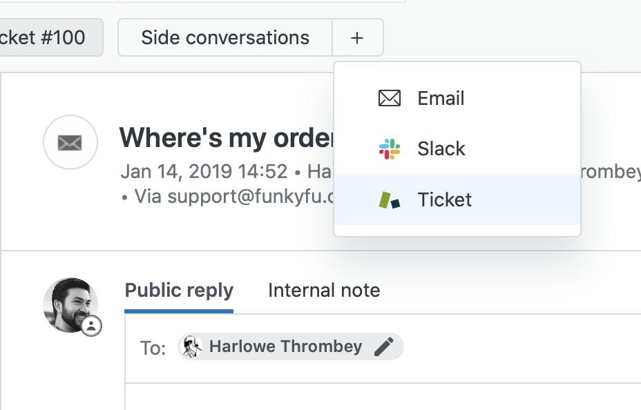 Mejora la colaboración y los tiempos de resolución de los tickets a través de las conversaciones secundarias con terceros en Zendesk<sup>®</sup> Support