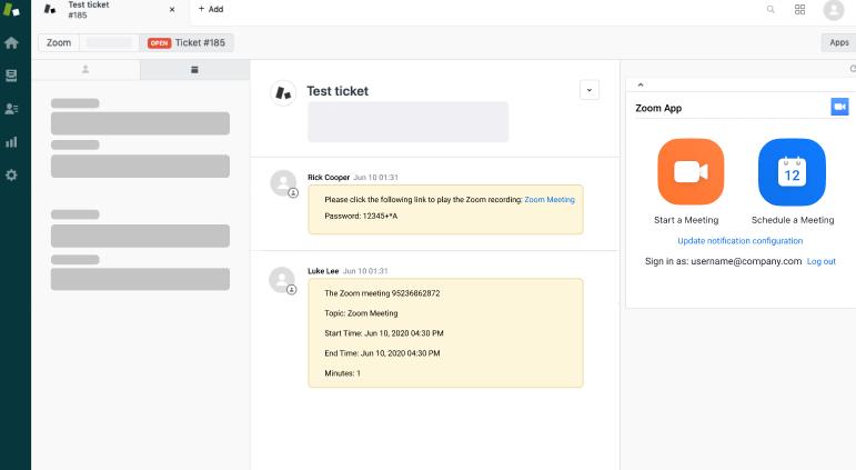 Integración entre Zoom y Zendesk<sup>®</sup> Support [App de Integración entre Zoom y Zendesk<sup>®</sup> Support. Programa y lanza videollamadas y conferencias web. Publica sus detalles como una nota interna y accede a sus grabaciones desde ella]